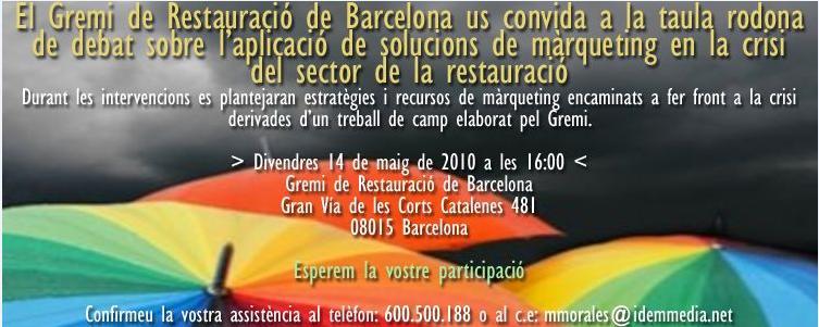 Invitación debate Gremi de Restauración de Barcelona