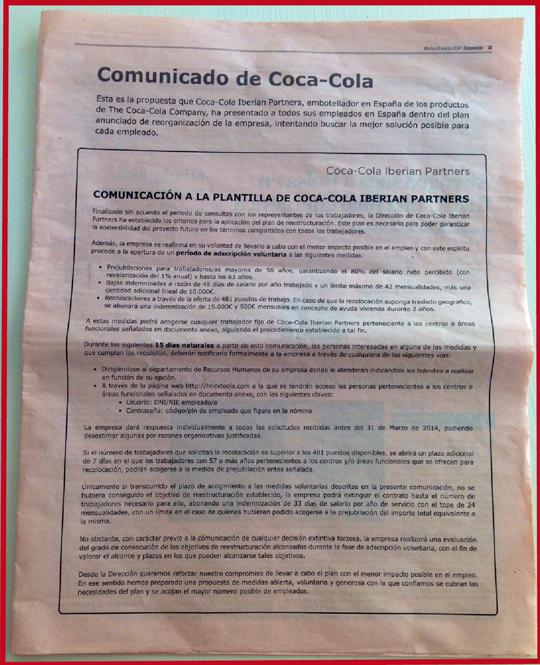 Comunicado Coca-Cola