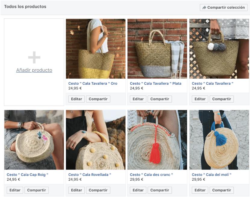 Tienda Facebook Productos