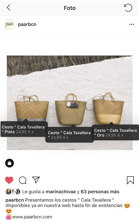 Instagram productos etiquetados