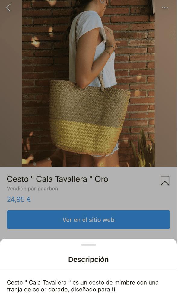 Ficha de producto en Instagram