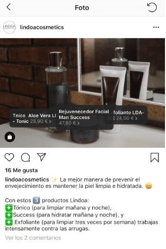 Publicación producto Instagram