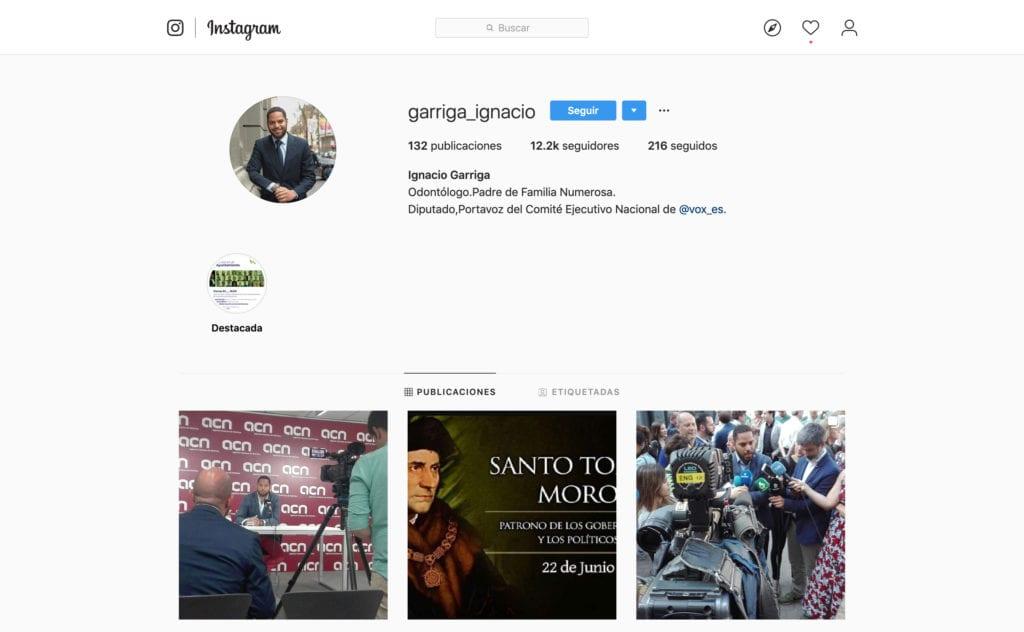 Perfil Instaram Ignacio Garriga Vox