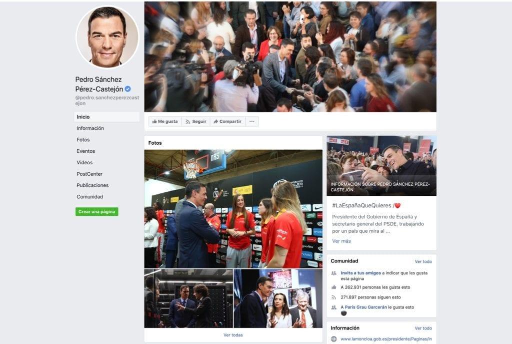 Perfil pedro sanchez Facebook