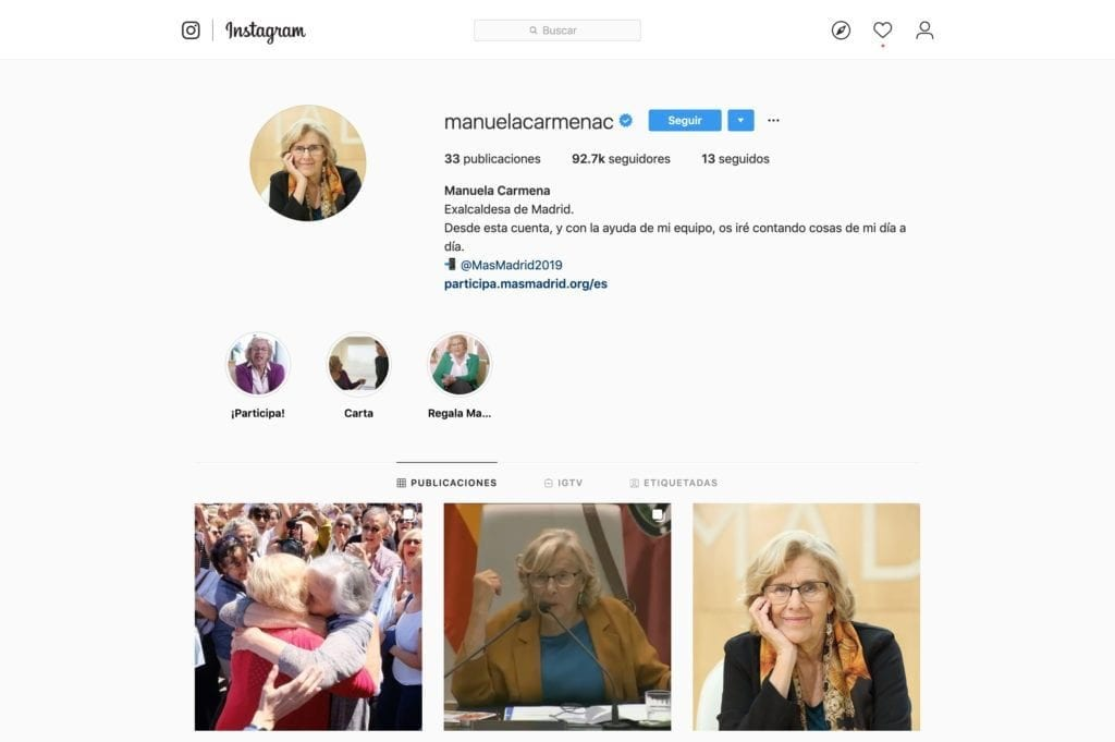perfil instagram manuela carmena
