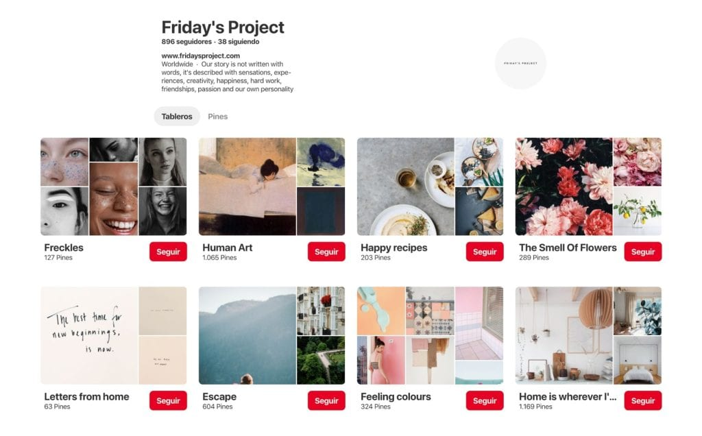 Perfil Pinterest Friday's Project