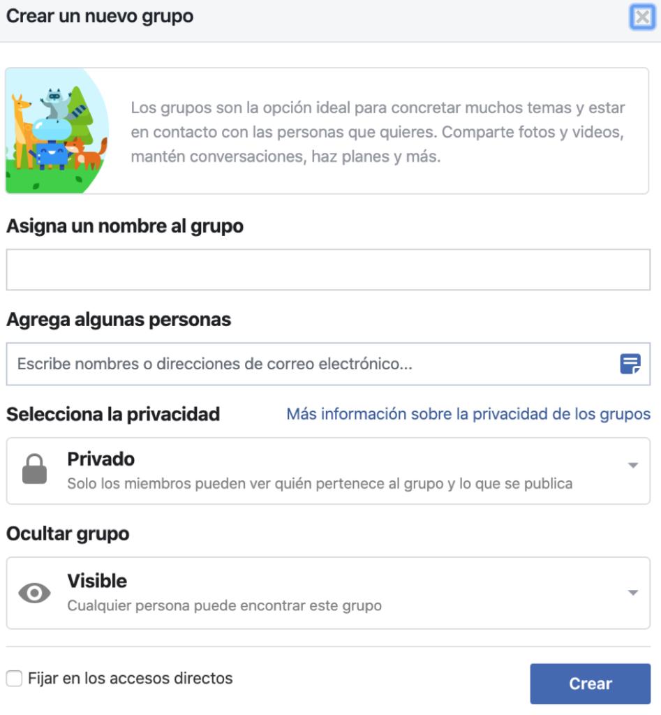 crear grupos de Facebook